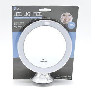 LED Lighted Z'Swivel Power Suction Cup Mirror 10X